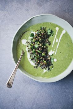 Asparagus, Fennel and Spinach Soup   Topping!