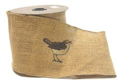 "4"" (#100) Embroidered Sparrow Burlap.  Wired Edge.  5 Yards. Item# 1621518100"