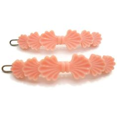 Vintage Hair Barrettes Pink 1950s Barrette Pair by Stirred