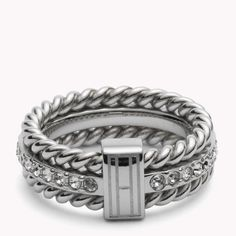 Tommy Hilfiger Rope & Stone Ring. Classic nautical inspired ring made from stainless steel, the center band is studded with Swarovski Crystals.