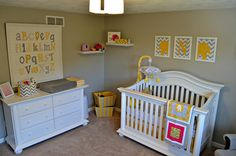 Really cute DIY nursery decorations here. and the links for making them.  Love the alpabet wall hanging.