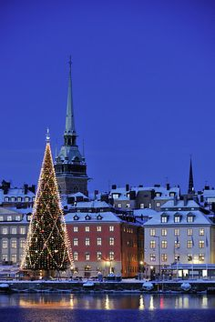 I assume this is Stockholm, which I've been to and fell in love with, but in June, not winter.  How beautiful this is.