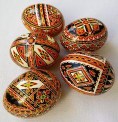 Set of 5 Real Ukrainian hand painted Pysanky Easter Eggs Ukraine Osterei Pysanka Pisanki egg shell