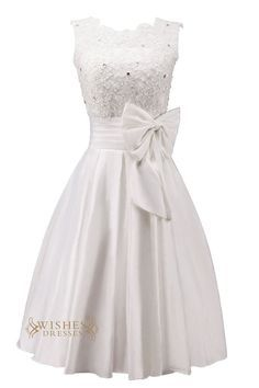 Pretty Applique and Bowknot Short Wedding Dress/ Reception Bridal Gown/ Engagement Dress Am46
