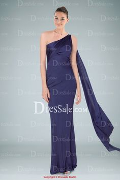 Fashionable One-shoulder Sheath Evening Gown Featuring Flowing Back Sash