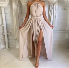 Sexy halter backless long prom dress evening dress, Simple A-Line Backless Prom Dress, Formal Dress