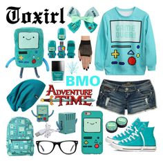 """""""BMO"""" by toxirl ❤ liked on Polyvore featuring Converse, Almost Famous, Patagonia, Muse, Blue, adventuretime and BMO"""
