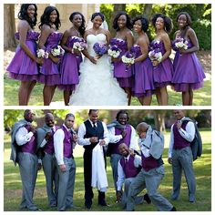 Nigerian wedding bridesmaids & groomsmen in purple4