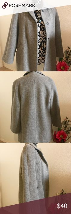 """Cabin Creek Women's Dress Coat  This is a very gently used women's wool gray coat, like new condition. So nice, warm and comfortably! It's Gray Wool blend coat button up, lined. Button down with 4 buttons. Great coat for the winter time or the holiday season! Hidden shoulder padding under the lining on the inside. 2 front pockets. •Size-6P •Chest measurements from pit to pit- 20"""", arm length from pit- 15"""", length from neck seam to hem- 301/2"""" •80% wool, 20%nylon •100% acetate Cabin Creek…"""
