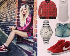 Our treat to you today is the gorgeous Nina Nesbitt!! Get her look with this New Look tartan bomber jacket, Topshop plain vest top, Topshop vintage cut studded shorts, red Nike Blazers and our fabulous Metallic Stones watch in Silver... https://www.etsy.com/shop/UnicornStudded #nike #ninanesbitt #newlook #ootd #fashion #style #celebrity