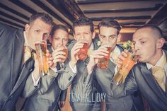 country house wedding photography – country garden wedding photography - tom halliday photography - uk wedding photography - groom groomsmen beer