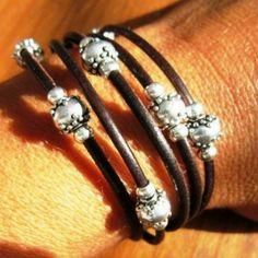 Womens leather bracelets, beaded bracelet, silver bracelet,  leather bracelets, womens jewelry