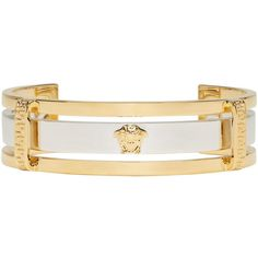 Versace Gold and Silver Small Medusa Cuff (775 CAD) ❤ liked on Polyvore featuring men's fashion, men's jewelry, men's bracelets, gold, mens gold and silver bracelets, mens engraved bracelets and mens gold bracelets