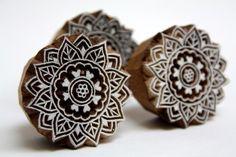 Small Round Henna Stamp Indian Wooden Block Printing Stamp