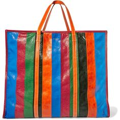 BalenciagaBazar Xl Striped Textured-leather Tote (€2.260) ❤ liked on  Polyvore featuring 761e134974e42