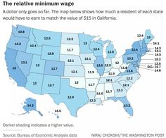 Mapsontheweb Generic Names For Soft Drinks In The US By The - Minimum wage map us