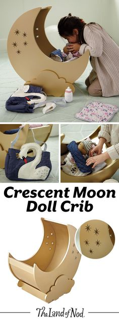 We have a feeling any doll will fall asleep on our Crescent Moon Doll Crib. The moon-shaped crib can rock gently back and forth and has plenty of space for your favorite doll bedding. Kids will love to add this unique piece to their toy collection. Girl Dolls, Baby Dolls, Baby Doll Crib, Diy For Kids, Crafts For Kids, Doll Bedding, Doll Beds, Kids Wood, Doll Crafts