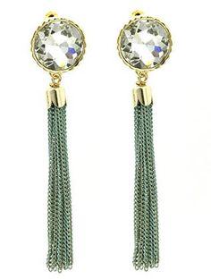 Clear Stone Tassel Earrings - Turquoise from Helen's Jewels