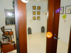 Entrance to our old office all decorated for Halloween. I wonder what we'll do this year! Halloween Office, Candle Sconces, Entrance, Wall Lights, Scene, Candles, Home Decor, Entryway, Appliques