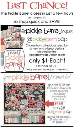 You have about EIGHT HOURS left to grab October's $1 Pickle Barrel Packs at Pickleberrypop! Shop Fast to get my Solitude 6-Pack for just $6! https://www.pickleberrypop.com/shop/product.php?productid=29796  See all of the Pickle Barrel Packs at https://www.pickleberrypop.com/shop/home.php?cat=90