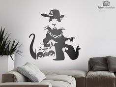 Adesivi Murali Banksy NYC Gangster Rat Banksy, Rats, Decals, Nyc, Home Decor, Tags, Decoration Home, Room Decor, Sticker