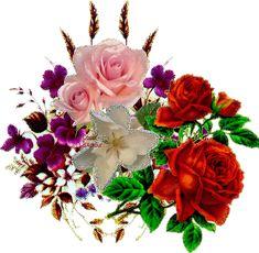 Lindas flores variadas com brilho