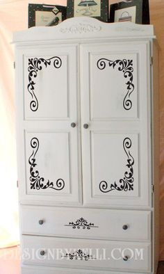 Vinyl Decal on Armoire!... hmmm... wonder how it would look reversed on my black armoire