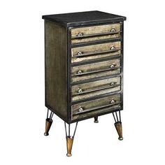 Linon Home Decor Cade Industrial Metal Chest Accent Cabinet with Drawers, Antique Distressed Metal Small Cabinet, Cabinet Drawers, Storage Cabinets, Black Furniture, Metal Furniture, Shabby Chic Furniture, Furniture Redo, Metal Chest, Antique Metal
