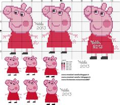 Cross Stitch For Kids, Cross Stitch Baby, Cross Stitch Animals, Cross Stitch Charts, Cross Stitch Patterns, Jumper Knitting Pattern, Knitting Charts, Baby Knitting, Peppa Pig