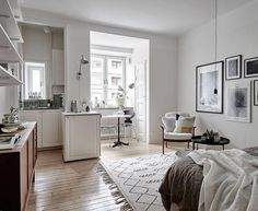 """17 studio apartments that are chock full of organizing ideas """"white paint creates the illusion of more space"""""""