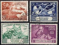 Pitcairn Islands Stamps 1949 Universal Postal Union Set Fine Used SG 13-16 Scott 13-16 Other Pitcairn Stamps HERE