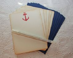 Red Anchor Nautical Stationary - Set of 6 cards and envelopes