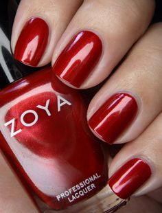 Elisa by Zoya can be best described as a bright, shining medium crimson red with subtle gold shimmer and a glowing metallic finish. The smooth, glowy metallic finish gives this bright red an extra kick Love Nails, Red Nails, How To Do Nails, Pretty Nails, Zoya Nail Polish, Nail Polish Colors, Nail Polish Collection, Stylish Nails, Perfect Nails