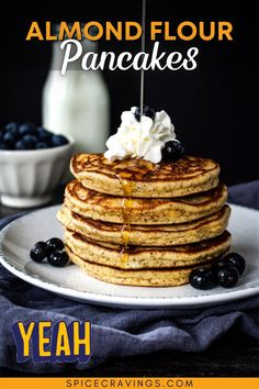 These gluten-free Almond Flour Pancakes are light and fluffy, and just perfect for breakfast or brunch. Big Bonus, they're low carb too! Almond Meal Pancakes, No Flour Pancakes, Yummy Snacks, Snack Recipes, Yummy Food, Healthy Food, Gluten Free Recipes, Low Carb Recipes, Rolled Chicken Recipes