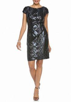 Adrianna Papell Navy Sequin Sheath Dress