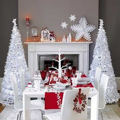 Modern Red And White Christmas Tablescape