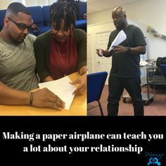 Paper airplanes was the topic in the @miraclecitychurch Miracle Marriages session today. The couple, with their arms around each other, had to make a paper airplane with their free hands... From this exercise we can draw out several things such as level of communication, communication styles, role designation, conflict resolution/problem solving, teamwork, etc. Powers Of 2, Make A Paper Airplane, Communication Styles, Conflict Resolution, Try Harder, Love And Marriage, Teamwork, Problem Solving, Airplanes