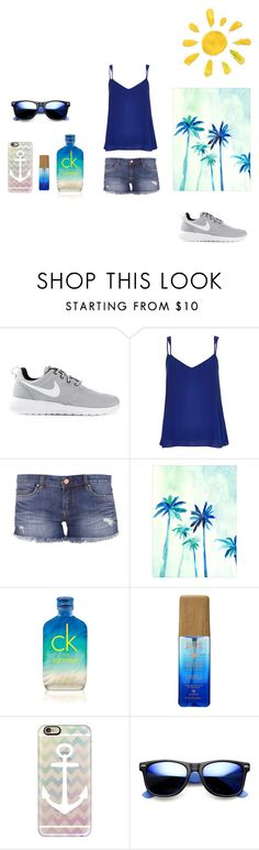 """It feels like summer in December rn. "" by kenidiaka ❤ liked on Polyvore featuring NIKE, River Island, BLANKNYC, Calvin Klein, Casetify and Revo"