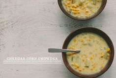 This is one of our most favorite soups. It's on heavy rotation during the winter months. Cheddar Corn Chowder | Vanilla Bean Blog