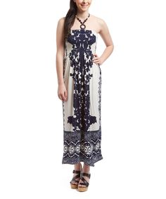 Look at this Black & White Floral Beaded Halter Maxi Dress on #zulily today!