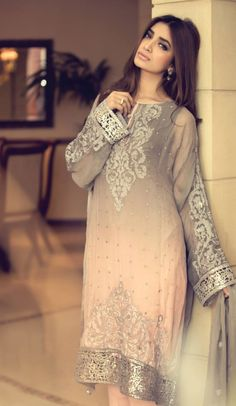 Buy Peach Embroidered Chinese Chiffon Salwar Kameez by Maria B. Chiffon Collection 2015.