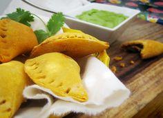 Lentil, Kale & Sweet Potato Empanadas with Creamy Chimichurri Sauce