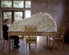 "Ann Hamilton - still life 1988 ""Tables are my blank paper, my landscape, my… Ann Hamilton, Bokashi, Artistic Installation, Land Art, Contemporary Artists, Textile Art, Paper Art, Art Projects, Sculpture"