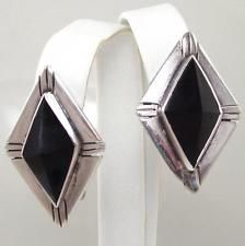 Vintage Sterling Silver TAXCO Black Onyx Clip-On Earrings