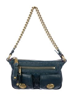 Petrol blue grained leather Marc Jacobs Mini Blake handle bag with antiquéd gold-tone hardware, single chain-link shoulder strap, three pockets at exterior; one with zip closure, oxblood suede lining, single zip pocket at interior wall and zip closure at top. Includes dustbag and tags.  Shop authentic bags by Marc Jacobs at The RealReal. Lipstick Holder, Oxblood, Accessories Shop, Mini Bag, Marc Jacobs, Dust Bag, Shoulder Strap, Vintage Outfits, Hardware