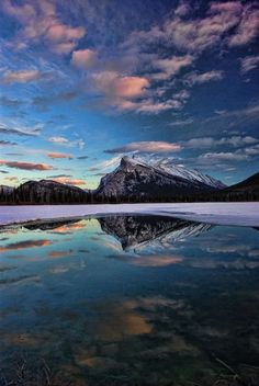 Rundle mountain, Banff National Park, Alberta, Canada | nature | | reflections | #nature https://biopop.com/