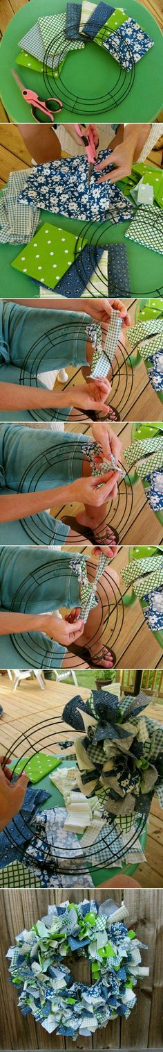 Good way to bust those fabric scraps. I could see using Halloween or Christmas printed fabric scraps for a great holiday wreath!