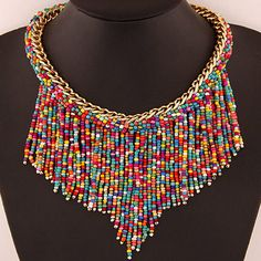 Asujewlery.com Offers High Quality Bohemia Multicolor Beads Decorated Weave Tassle Design Alloy Bib Necklaces,Priced At Only US$2.68(Free Shipping)