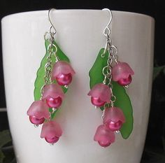 Pink-Lily-of-the-Valley-Lucite-Flower-and-Pearls-Dangle-Earrings-Bridesmaidss