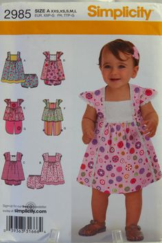 Babies' Dress in Two Lengths, Top, Copped Pants and Panties Pattern